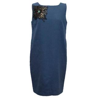 Osman Blue Sleeveless Dress with Embellishment