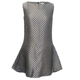 Osman Sleeveless Silver and Black Honeycomb Dress