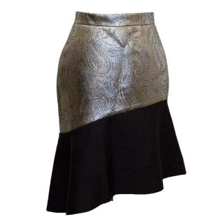 Osman gold brocade and black asymmetrical skirt