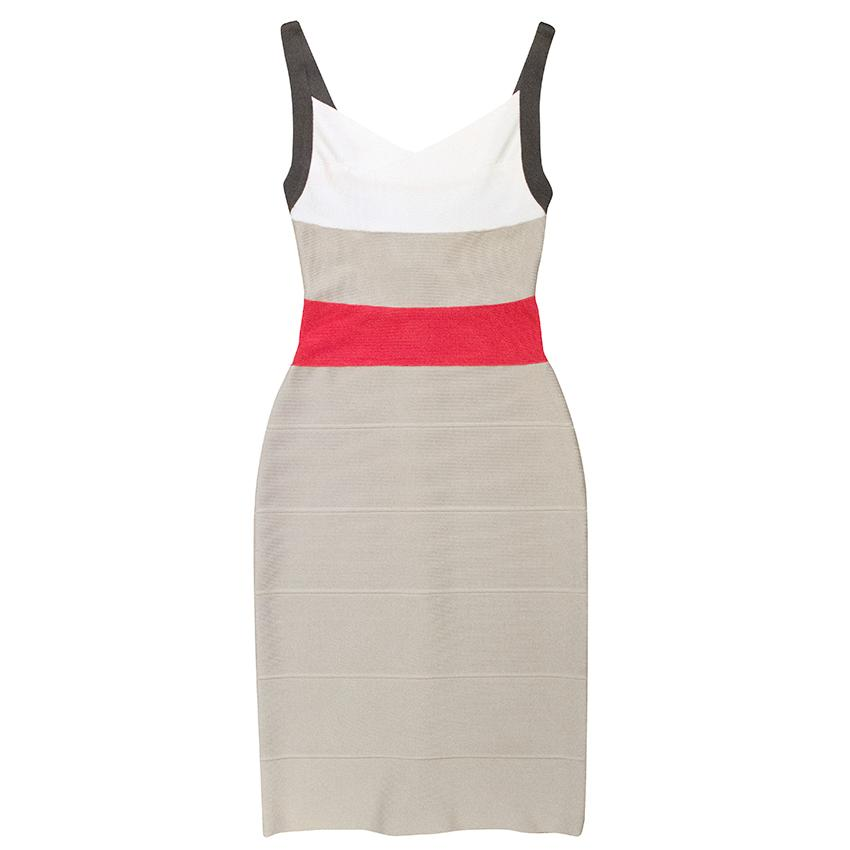 Herve Leger grey, red and white bandage dress