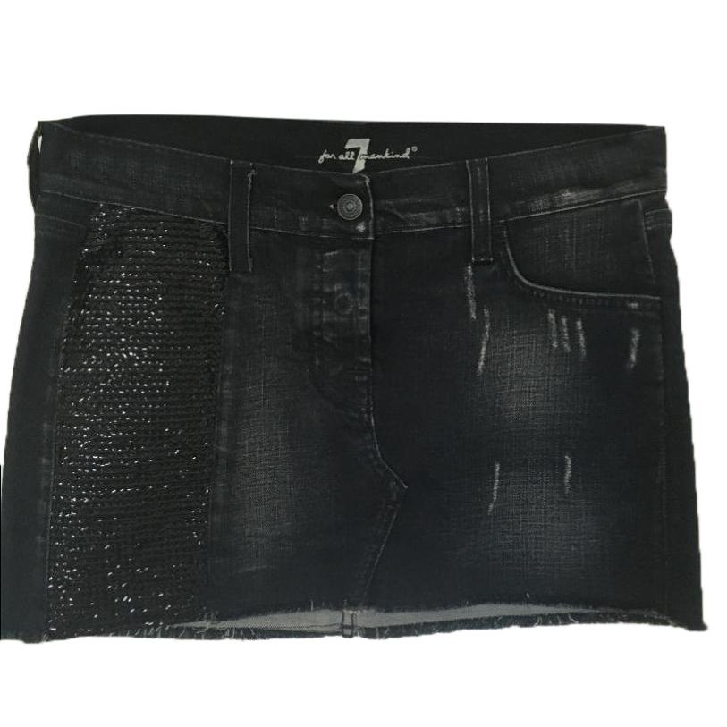 7 For All Mankind dark blue denim mini skirt