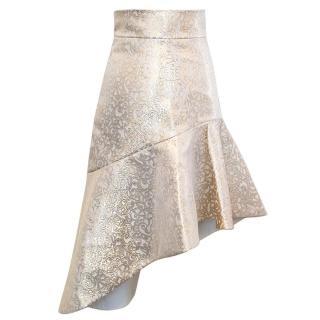 Osman Cream Skirt with Gold Jacquard Print