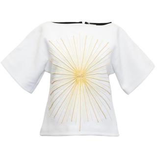 Osman White Short Sleeved Top with Gold and Yellow Embroidery