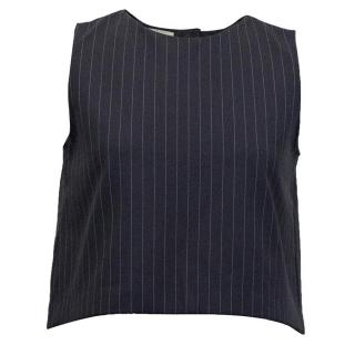Osman navy blue crop top with stripes