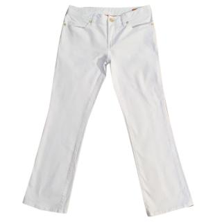 TORY BURCH white cotton stretchy cropped jeans