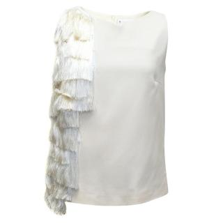 Osman Cream Sleeveless Top with Fringe
