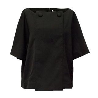 Osman black button front top