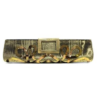 Roger Vivier Gold Clutch with Sequin Design
