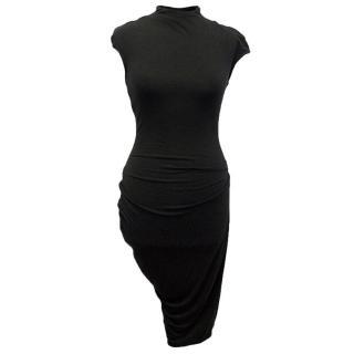 Helmut Lang black elastic asymmetrical dress