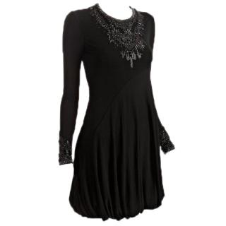 Alexander McQueen Black Beaded Stretch Jersey Dress