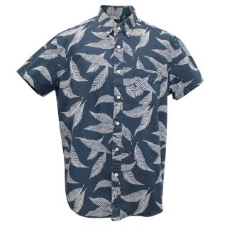 J Crew blue leaf print short sleeved shirt