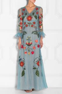Gucci blue silk organza embroidered gown dress 2016