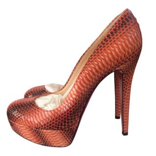 Christian Louboutin Orange Python Shoes