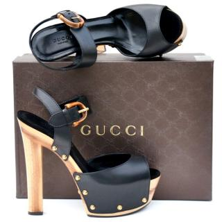 Gucci Black Platform Heels Sandals
