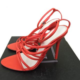 Herve Leger Odette Coral Red Lamb Leather Strappy Sandals Heels Laceup