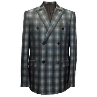 Valentino grey and green tartan blazer