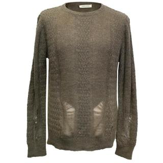 Pierre Balmain Pale Brown Distressed Jumper
