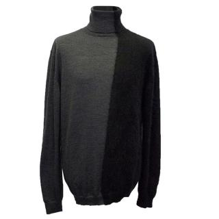 Costume National Black and Grey Turtle Neck Jumper