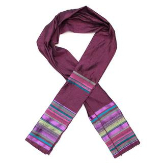 Etro purple scarf with coloured stripes