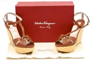 SALVATORE FERRAGAMO Tan Leather Wedges