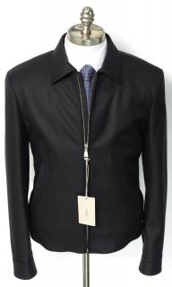 BRIONI Solid Black Wool Leather Trim Blouson Jacket Coat