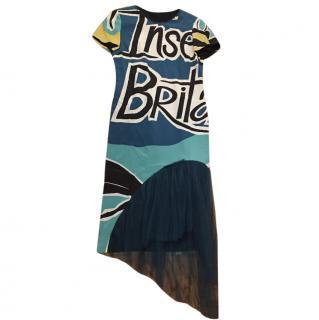Burberry Prorsum 2015 AW Runway Silk Organza Print Dress w/ belt