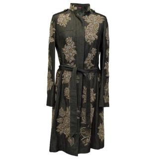 Matthew Williamson Denim Coat with Flower Embellishment