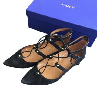 Aquazzura Bel Air Lace Up Flats