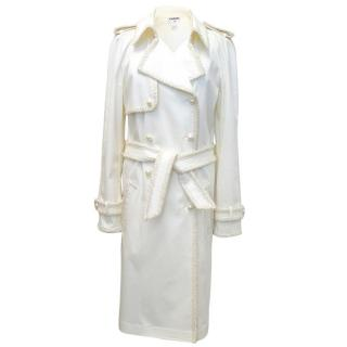 Chanel Cream Trenchcoat with Pearl-Like Buttons