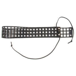 Yves Saint Laurent black patent cage belt