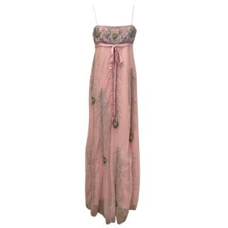 Matthew Williamson Baby pink peacock feather beaded gown