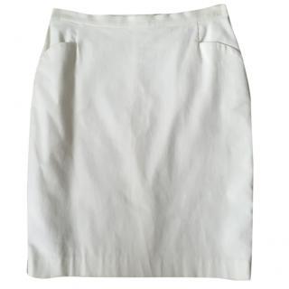 GOAT Cream Cotton and Elastane Stretchy Knee Length Pencil Skirt