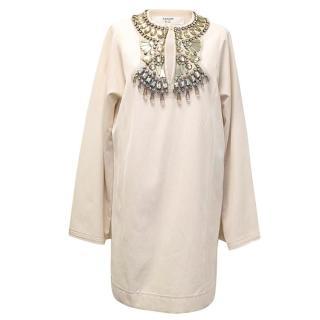 Lanvin cream embellished tunic