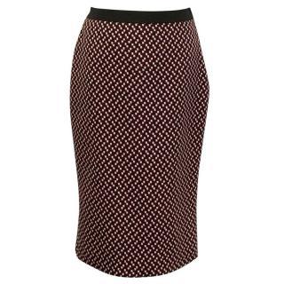 Miu Miu red black and white patterned dress