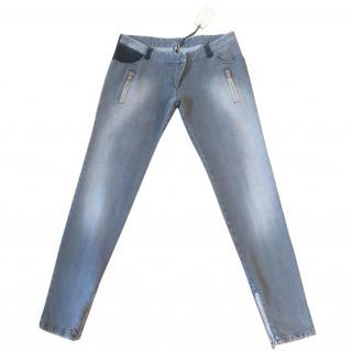 IRO 'Swan' Grey Skinny Jeans Leather & Zip Pocket Detail