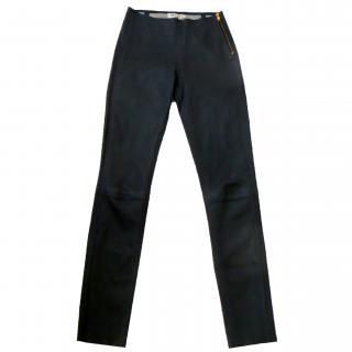 MIH slim fit dark grey leather trousers