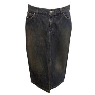 Gucci Faded Dark Wash Denim Pencil Skirt