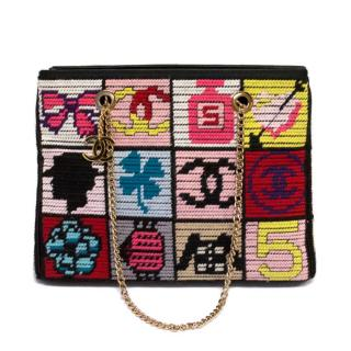 Iconic and Rare Chanel Multicoloured Patchwork Knit Shoulder Bag