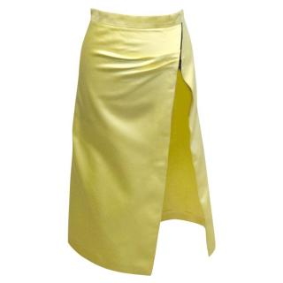 Osman Yellow Satin Skirt with Thigh High Slit