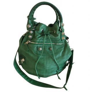 Balenciaga Giant Pompon Leather Shoulder Bag