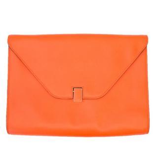 Valextra Orange Leather Cross Body Bag