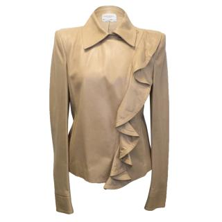 Yves Saint Laurent Beige Leather Jacket with Ruffle
