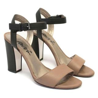 Lanvin Beige Sandals with Chunky Black Heels