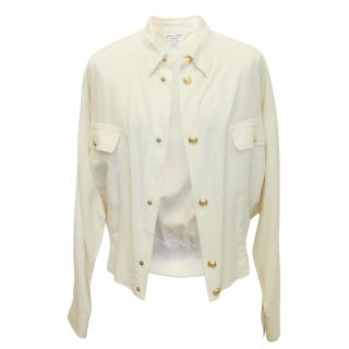 Versace Cream Jacket with Gold Logo Buttons
