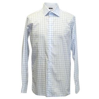 Richard James Savile Row White Shirt with Blue Check