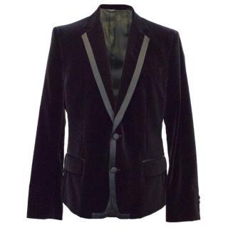 Dolce & Gabbana mens deep purple velvet blazer
