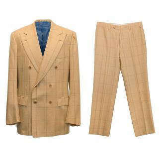 Kiton mens light mustard tartan two piece suit