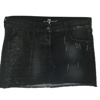 7 For All Mankind dark blue denim mini skirt