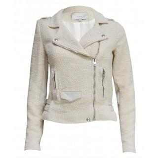 IRO Women's White Bradley Leather Trimmed Tweed Biker Jacket