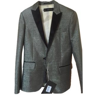 Dsquared2 men blazer jacket with lined with black suede tuxedo collar